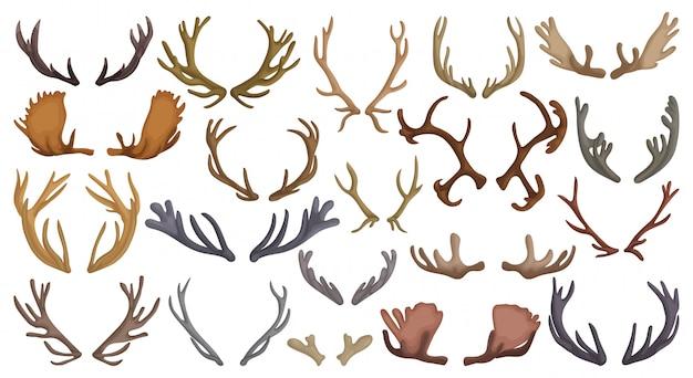 Elk hoorn kruimels cartoon set icoon.