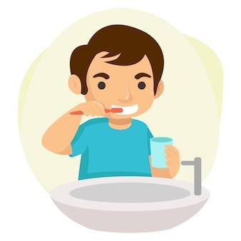 Elke ochtend poetst een gelukkige jongen zijn tanden. illustratie concept