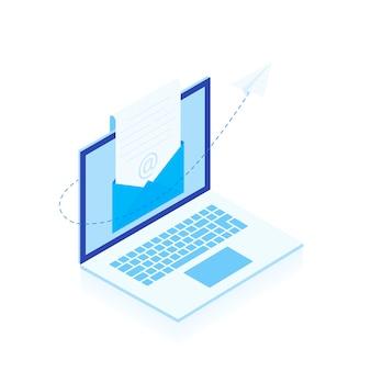 Email reclame. het concept van een open e-mail met een genest document tegen de achtergrond van een laptopscherm en een papieren vliegtuigje. moderne vlakke afbeelding