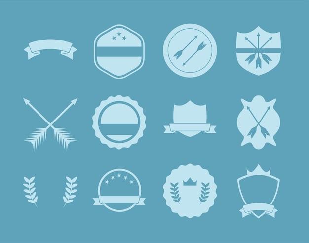 Embleem en blauwe etiketten sjablonen set