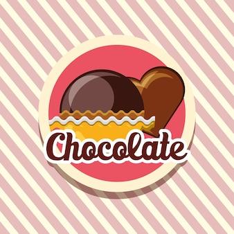 Embleem met chocoladetruffels en hart van chocolade