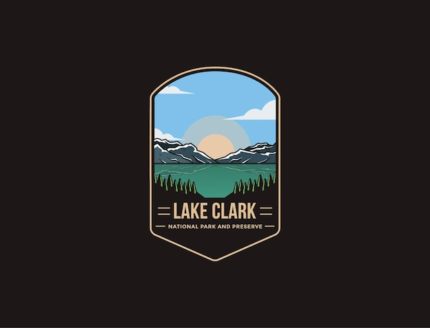 Embleem patch logo afbeelding van lake clark national park and preserve