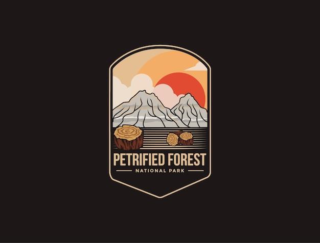 Embleem patch logo afbeelding van petrified forest national park op donkere achtergrond