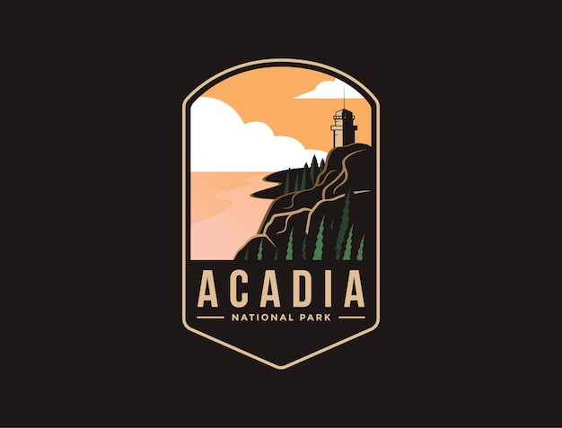Embleem patch logo illustratie van acadia national park