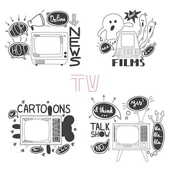 Embleem set voor cartoons nieuws films spreken tonen