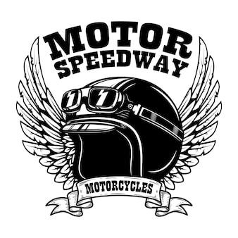 Embleem sjabloon met gevleugelde motorcoureurhelm. ontwerpelement voor poster, t-shirt, teken, badge.