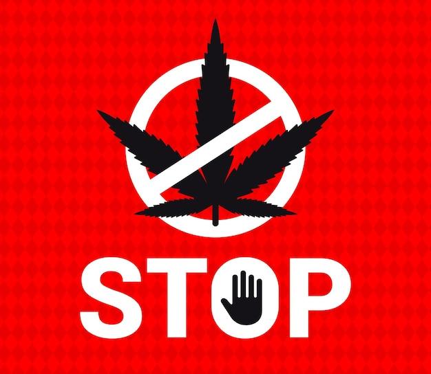 Embleem stop marihuana op een rode achtergrond. doorgestreepte plant.