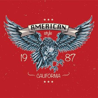 Embleem van adelaar. amerikaanse stijl. californië 1987