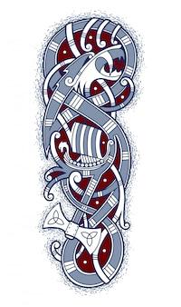 Embleem van gewaagde vikingen die per schip reizen