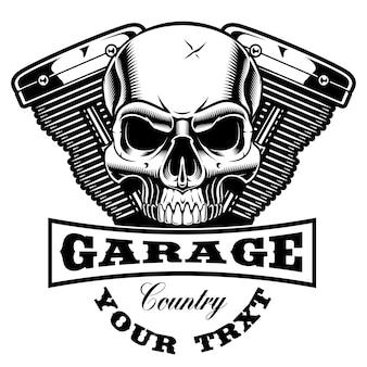 Embleem van motorfietsmotor met schedel. tekst staat op de aparte groep.