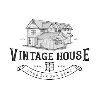 Embleem voor oude huizen, traditionele huizen, onroerende goederen
