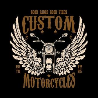 Embleemmalplaatje met gevleugelde motorfiets. ontwerpelement voor poster, t-shirt, teken, badge. Premium Vector