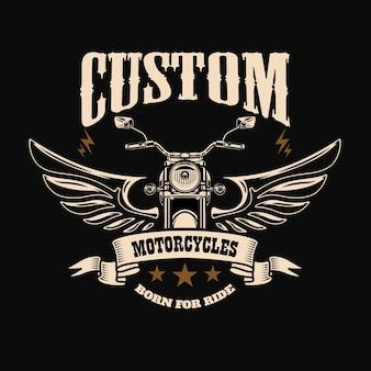Embleemmalplaatje met gevleugelde motorfietsmotor. ontwerpelement voor poster, logo, etiket, teken, t-shirt. Premium Vector