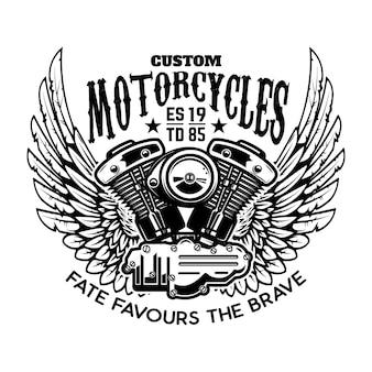 Embleemmalplaatje met gevleugelde motorfietsmotor. ontwerpelement voor poster, logo, etiket, teken, t-shirt.