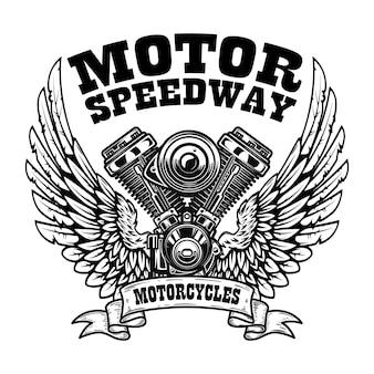 Embleemmalplaatje met gevleugelde motorfietsmotor.