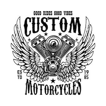 Embleemmalplaatje met gevleugelde motorfietsmotor