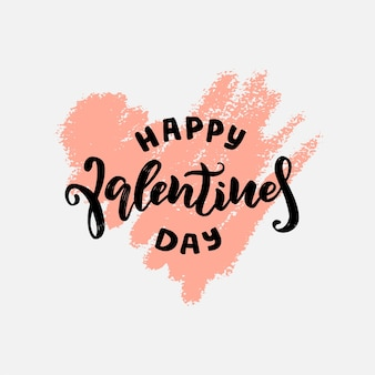 Embleemontwerp voor happy valentine's day. belettering zin over liefde. handgeschreven kalligrafietekst.