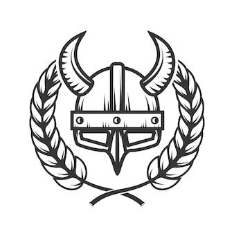 Embleemsjabloon met gehoornde helm en krans. ontwerpelement voor logo, label, embleem, teken.
