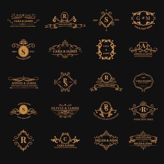 Emblemen met initialen ingesteld