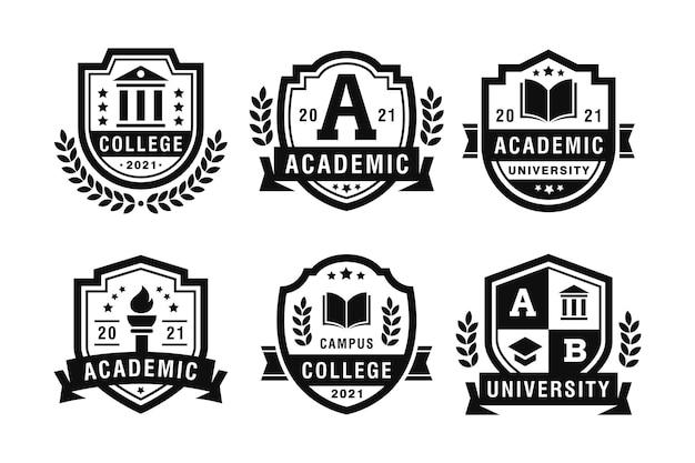 Emblemen van university academy en college