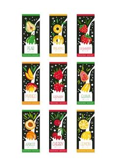 Emblemen voor fruitmelk. 9 verschillende smaken