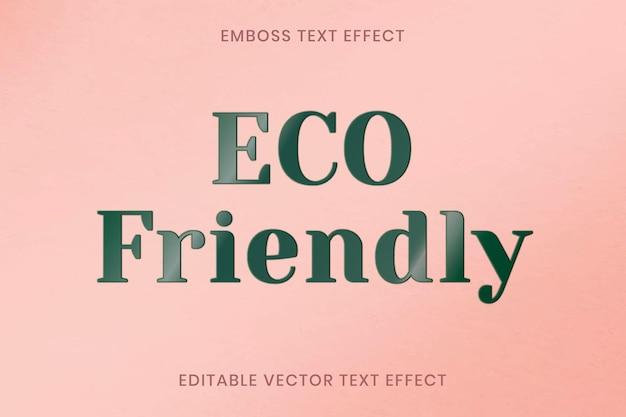 Emboss teksteffect vector bewerkbare sjabloon