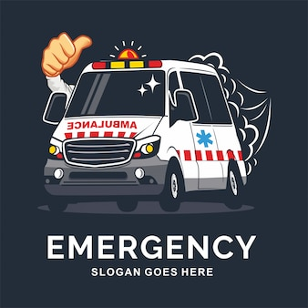 Emergency auto in cartoon stijl vector inspiratie