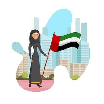 Emirati vrouwendag geïsoleerde beeldverhaalillustratie