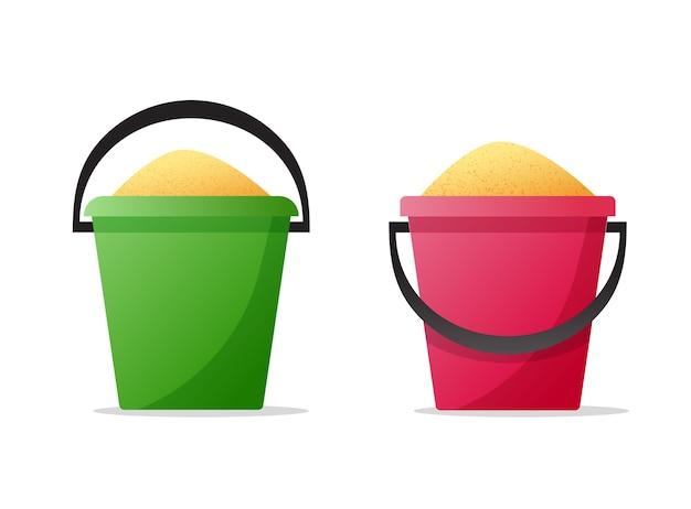 Emmer of emmer met zand geïsoleerde objecten clipart platte cartoon afbeelding afbeelding