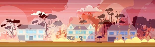Emoe of struisvogel loopt van bosbranden in australië wildvuur brandende huizen natuurramp concept intense oranje vlammen horizontaal