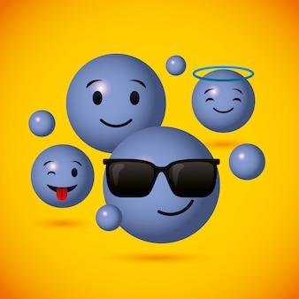 Emoji blauwe ronde gezichten achtergrond