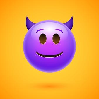 Emoji crtoon duivel slecht gezicht boos of gelukkig emoticon man eng.