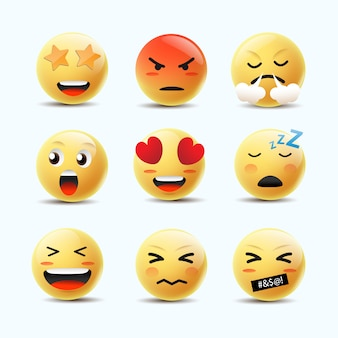 Emoji feeling faces vector. communicatie chat-elementen in gele bal bellen 3d-gezicht.