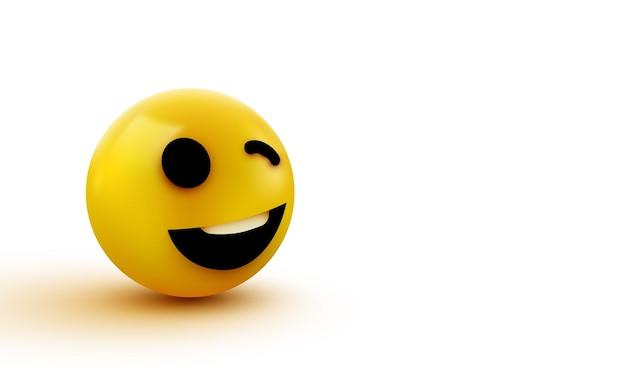 Emoji geel knipogend gezicht Premium Vector