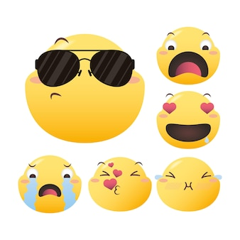 Emoji gezichten decorontwerp, emoticon cartoon expressie en sociale media thema vectorillustratie