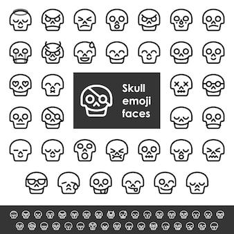 Emoji-gezichten van de lijnschedel
