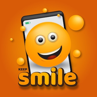 Emoji glimlach met smartphone vectorillustratie