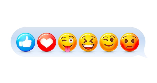 Emoji ingesteld icoon, collectie komische emotie, teken chat