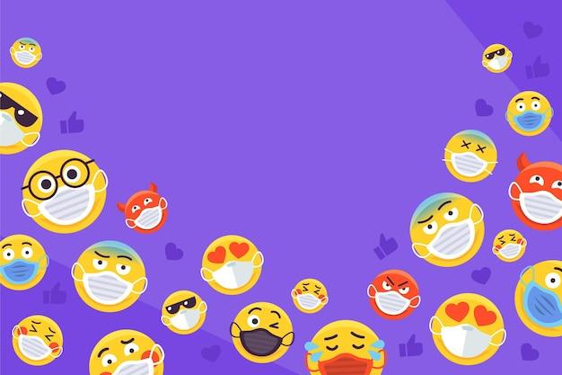 Emoji met gezichtsmaskerachtergrond