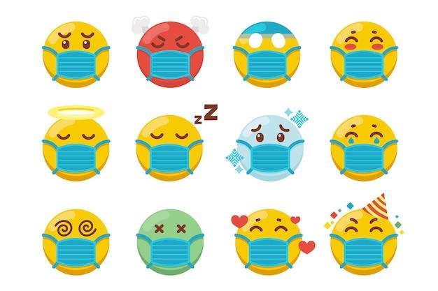 Emoji met gezichtsmaskerpakket