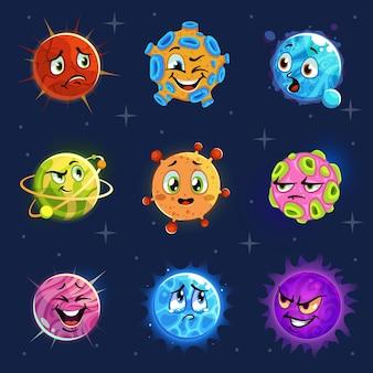 Emoji-planeten. leuke kleurrijke planetenstickers, kinderastronomie futuristische stripobjecten met grappig lachgezicht, fantasieruimte vector emotioneel stripfiguur