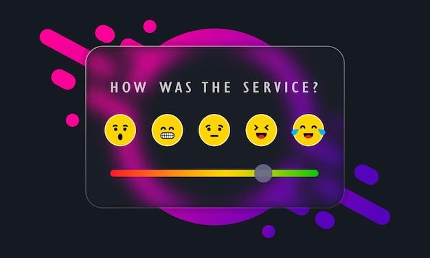 Emoji-schuifregelaar voor feedback. glasmorfisme. beoordelingen of beoordelingsschaal met emoji die verschillende emoties vertegenwoordigt. niveau van tevredenheidsbeoordeling. vectoreps 10.