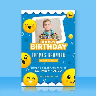 Emoji-sjabloon voor verjaardagsuitnodiging met foto