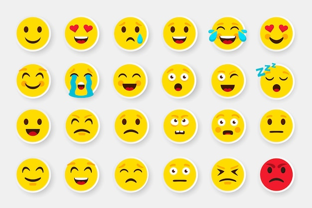 Emoji sticker gezicht. emoticon cartoon emoji symbolen. vector digitale chat objecten iconen set. hoe expressief gevoel