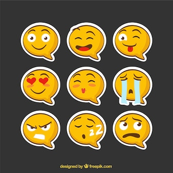 Emoji stickers speech bubble-vormige