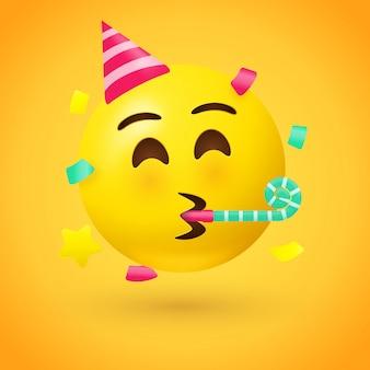 Emoji van het partijgezicht - emoticon met hoed die een partijhoorn blaast