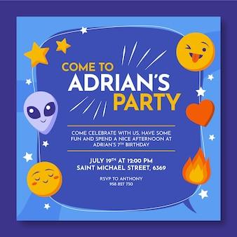 Emoji verjaardag uitnodiging sjabloon
