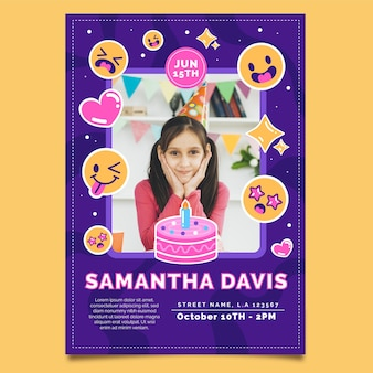 Emoji verjaardagsuitnodiging sjabloon met foto