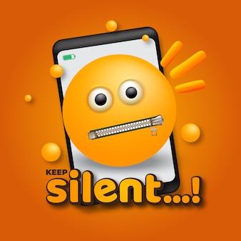 Emoji zwijg met smartphone vectorillustratie