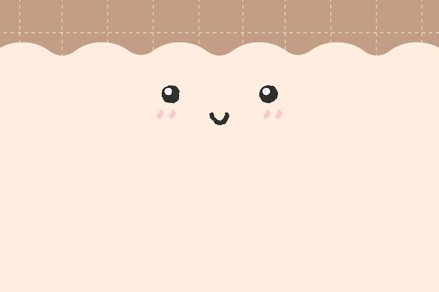 Emoticon achtergrond vector schattig lachend gezicht met kopie ruimte